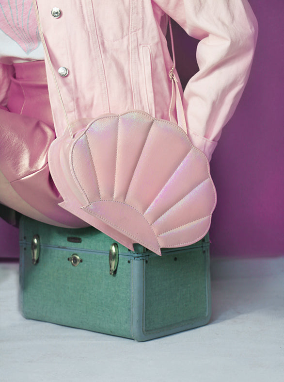 iridescent pastel pink synthetic leather mermaid sea shell bag