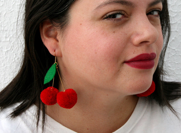 cherry pom pom earrings