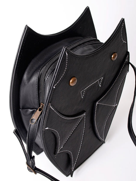 black or black with glitter wings synthetic leather bat bag