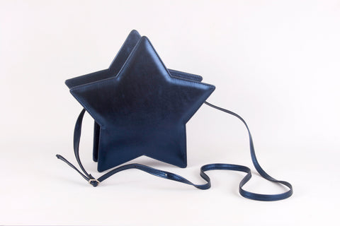 metallic deep blue star bag