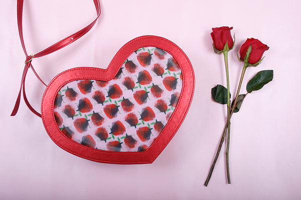 red roses hologram  heart bag
