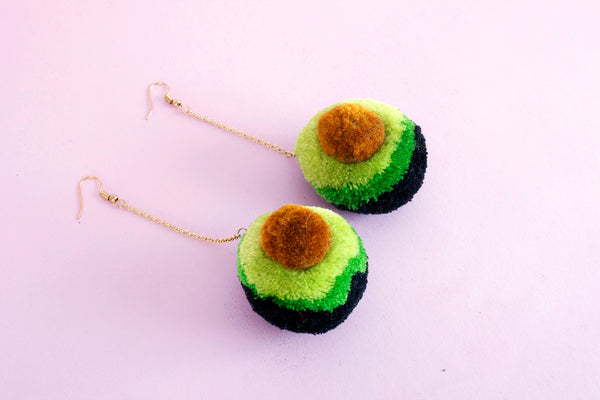 avocado pom pom earrings