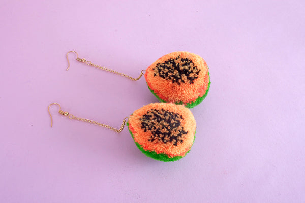 papaya pom pom earrings