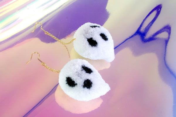 ghost pom pom earrings