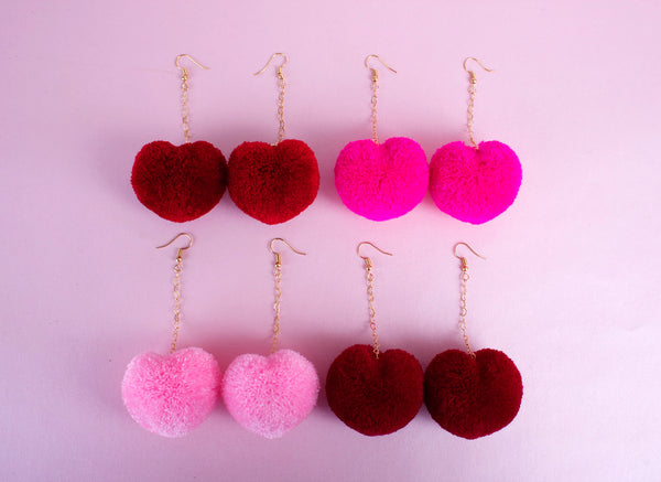 big heart pom poms earrings