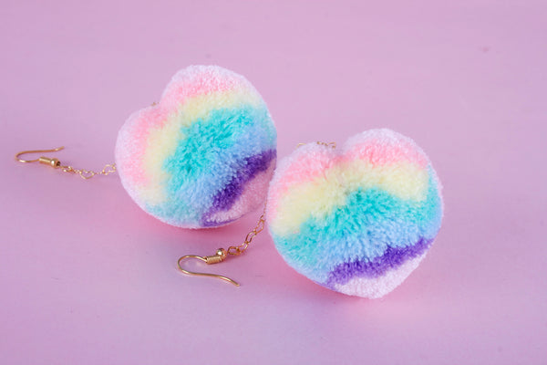 pastel rainbow heart pom earrings