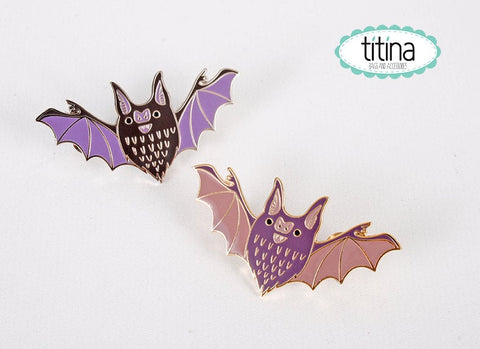 black or  purple chubby bats hard enamel pins