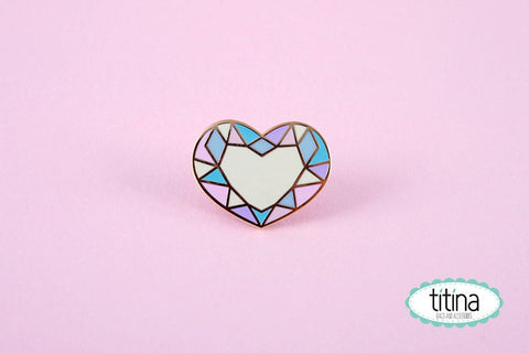 Diamond heart hard enamel pin