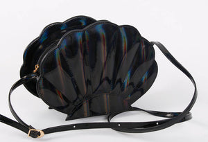 holographic black faux leather sea shell bag mermaid bag