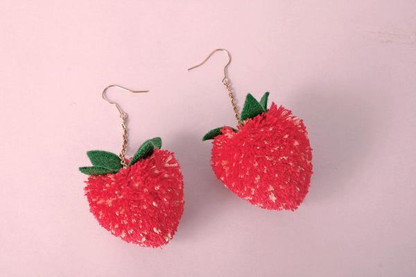 strawberry pom pom earrings-pom pom earrings