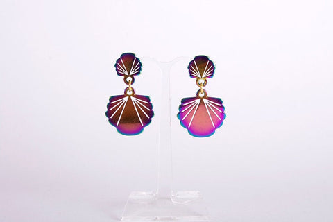 Rainbow metal mermaid's sea shells earrings