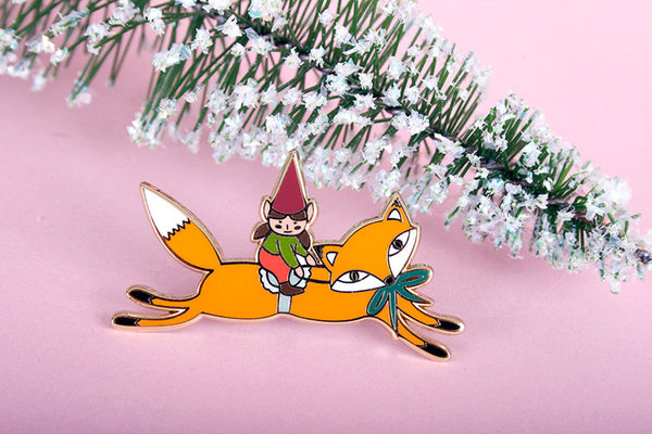 Elf and fox pin