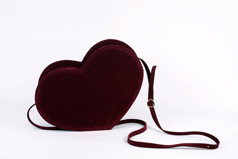 burgundy velvet heart bag