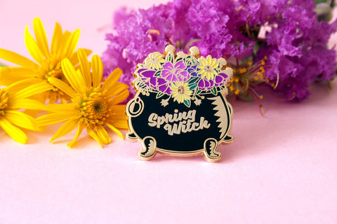 spring witch cauldron pin