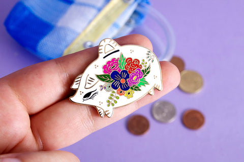 Mexican piggy bank hard enamel pin