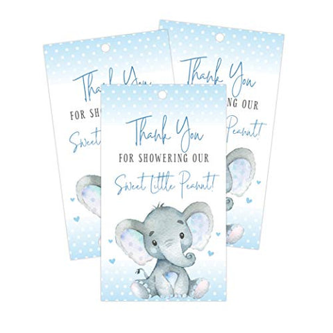 Elephant Thank You Favor Tags, Perfect for Baby Shower and Birthday Party Decorations and Gifts, 50 Count - Your Main Event
