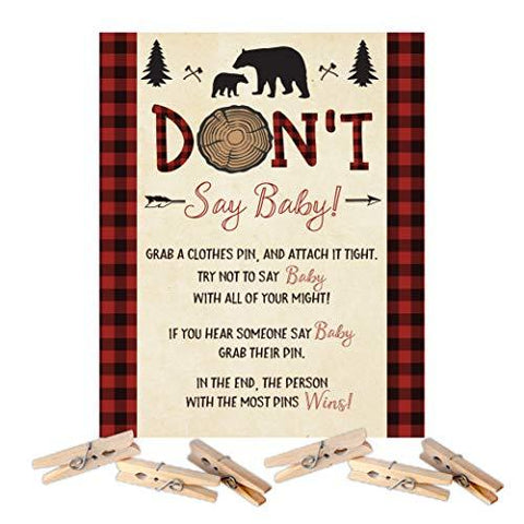 Lumberjack Bear Baby Shower Don't Say Baby Clothespin Game - Your Main Event