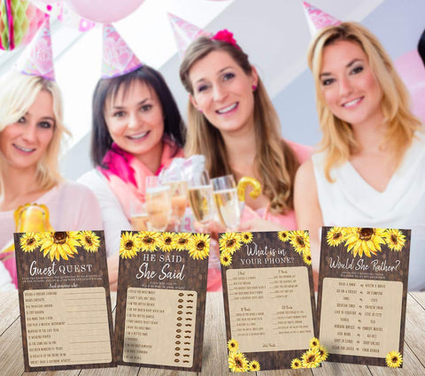Sunflower Bridal Shower Bachelorette Games, He Said She Said, Find The Guest Quest, Would She Rather, Phone Game, 25 games each - Your Main Event