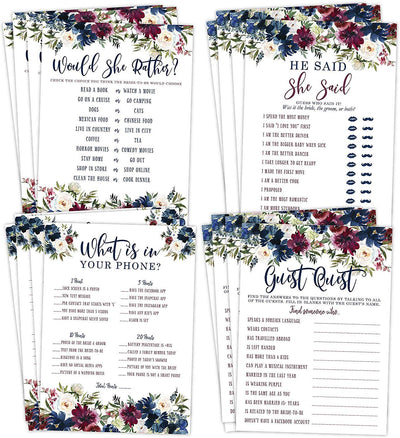 Navy and Burgundy Floral Bridal Shower Bachelorette Games, He Said She Said, Find The Guest Quest, Would She Rather, What's In Your Phone, 25 games each - Your Main Event