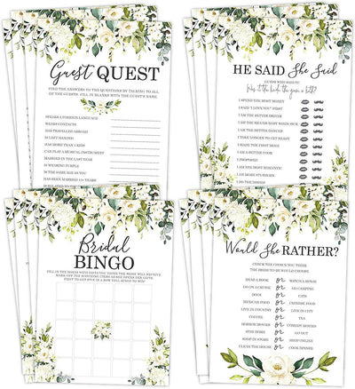 Bridal Shower Bachelorette Games, White Rose Floral, He Said She Said, Find The Guest Quest, Would She Rather, Bingo Game, 25 games each - Your Main Event