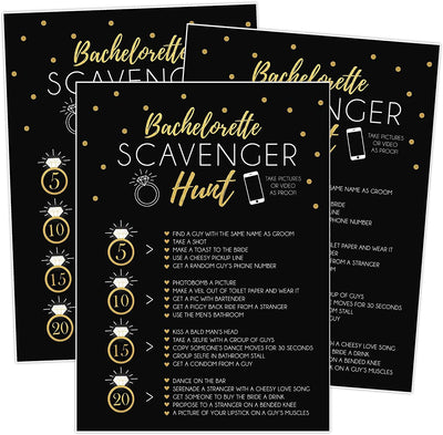 25 Bachelorette Scavenger Hunt Party Games, Drinking Game and Dares, Fun Novelty Cards for Girls Night Out - Your Main Event
