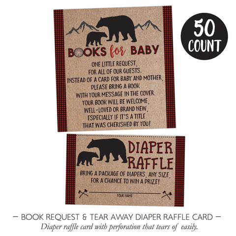 Lumberjack Baby Shower Bear Book Request Diaper Raffle Card, Lumberjack Book Request Card, Bear Diaper Raffle Card, 50 Count - Your Main Event