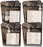 Bridal Shower Bachelorette Games, Rustic Wood Barrel Mason Jar, He Said She Said, Find The Guest Quest, Would She Rather, Phone Game, 25 games each - Your Main Event