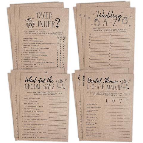 Bridal Shower Bachelorette Games, Rustic Kraft, Word Match, What Did The Groom Say, Over and Under, Wedding Alphabet, 25 games each - Your Main Event