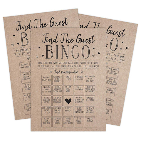 Find the Guest Bingo Game For Bridal Shower, Baby Shower and Bachelorette Parties, 50 Game Cards Included - Your Main Event