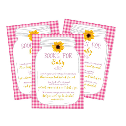 Pink Book Request Card BabyQ BBQ Sunflower Printable