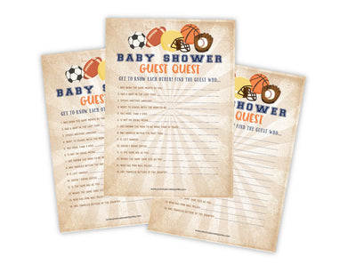Sports Guest Quest Baby Shower Game - Your Main Event