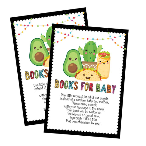 Fiesta Taco Baby Shower Book Request Cards - Your Main Event