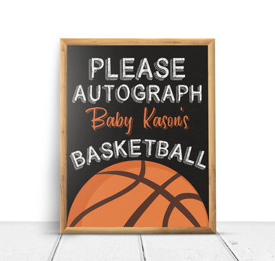 Basketball Sports Autograph Baby Shower Poster Sign Printable - Your Main Event