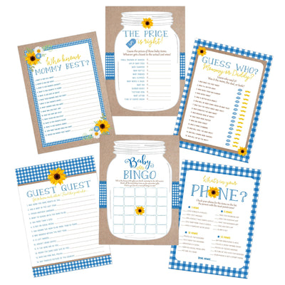 babyq baby bbq babyque baby shower games bingo cards blue sunflower