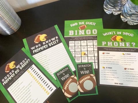 Football Sports Find The Guest Bingo Baby Shower Game - Your Main Event