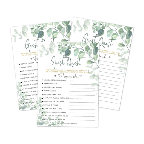 Find The Guest Game, Great For Bridal Shower or Baby Shower, Greenery Eucalyptus - Your Main Event