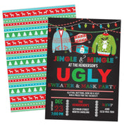 Ugly Sweater and Mask Christmas Party Invitation Evite - Your Main Event