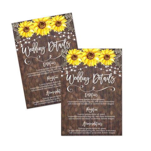 rustic sunflower wedding details card printable