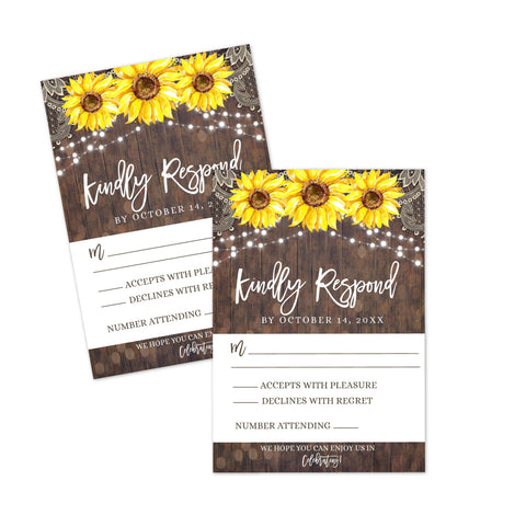Rustic Lace Sunflower RSVP Response Card Printable - Your Main Event