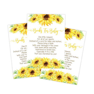 sunflower baby shower book request cards