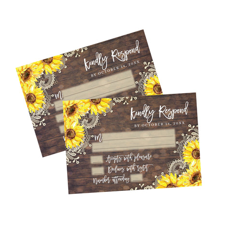 Rustic Lace Sunflower RSVP Response Card