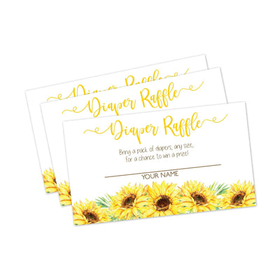 Sunflower Baby Shower Diaper Raffle Cards