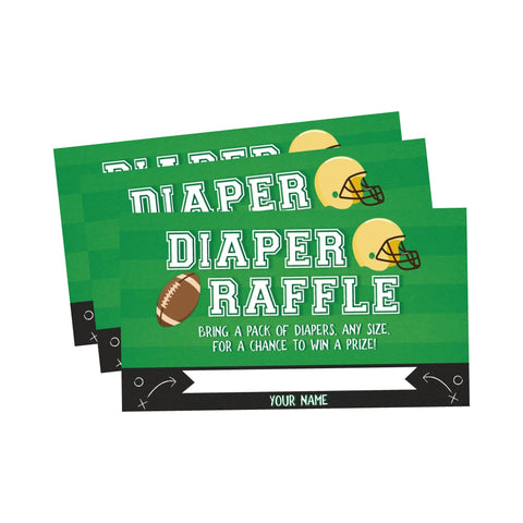 Football Tailgate Baby Shower Diaper Raffle Cards - Your Main Event