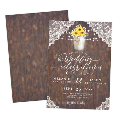 country rustic sunflower wedding invitation