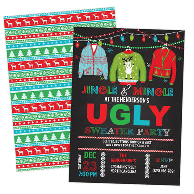 Ugly Sweater Christmas Party Invitation Printable Tacky