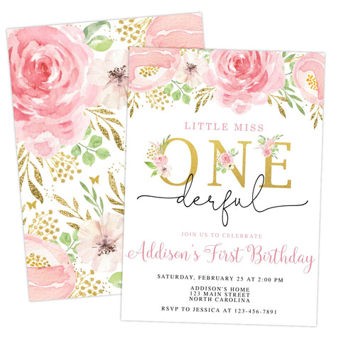 Little Miss ONEderful First Birthday Invitation Printable - Your Main Event
