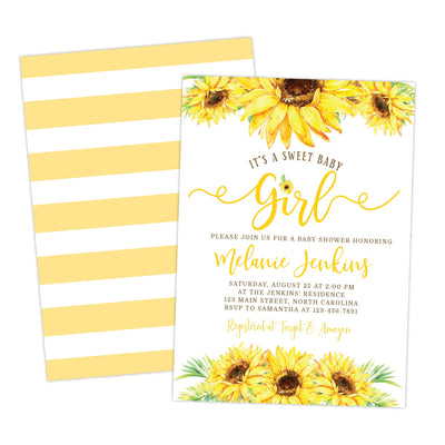sunflower floral baby shower invitation for girl
