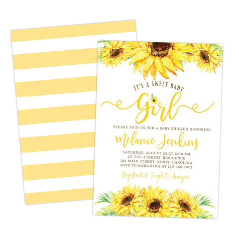 Sunflower Baby Shower Invitation It's a Girl - Your Main Event
