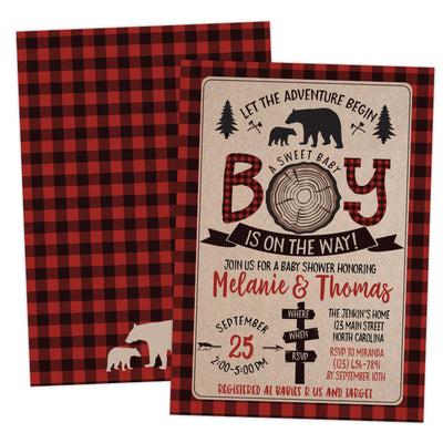 lumberjack bear baby shower invitation
