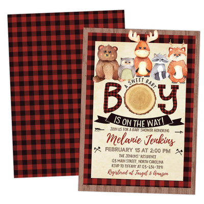 Woodland Lumberjack Baby Shower Invitation with bear, moose, deer, owl and raccoon